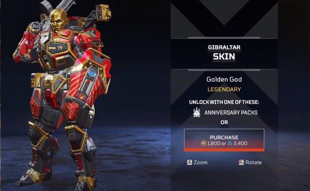 Gibraltar Golden God New Skins
